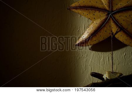 A wooden starfish shell and driftwood hangs on a textured wall with dark shadows.