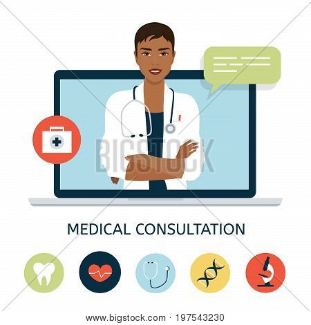 Woman doctor on the laptop screen. Online medical consultation and support. Concept vector illustration in flat style with icons.