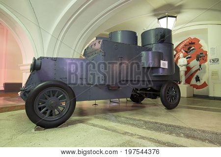 RUSSIA, SAINT-PETERSBURG - JUNE 30, 2017: Old armored car