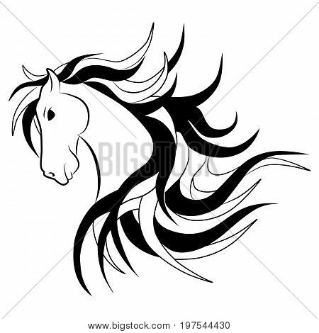 Vector silhouette of horse head. Head of a horse with a flying mane.