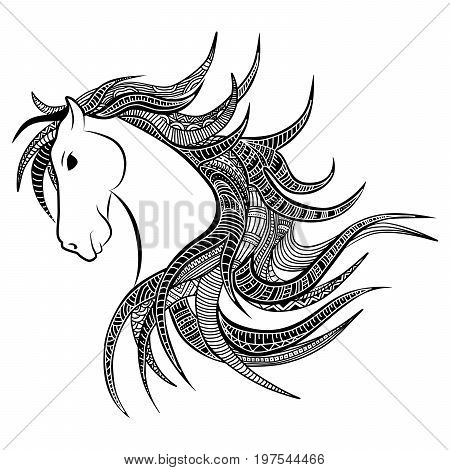 Vector silhouette of patterned head of the horse. Head of a horse with a flying mane. It may be used for design of a t-shirt bag postcard a poster and so on.