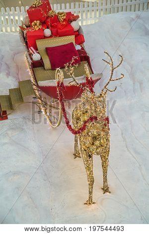 Christmas Decoration Santa Reindeer And Sleigh