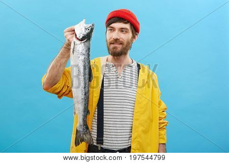 Portrait Of Successful Male Angler With Thick Beard Dressed Casually Looking With Happy Expression A