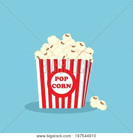 Cartoon popcorn in box isolated on a blue background for fast food design. Vector cartoon.