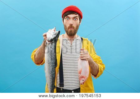 Astonished Young Bearded Man Dressed Casually Holding Two Fish In Hands Being Surprised To Have Such