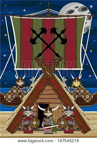 Vikings Hut & Ship Scene