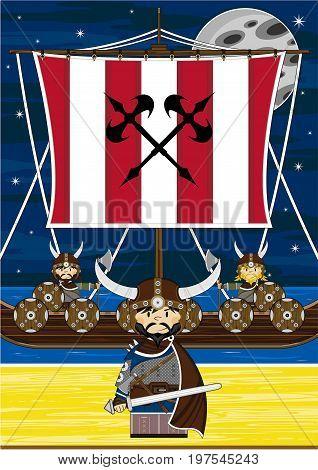 Vikings And Longship Scene