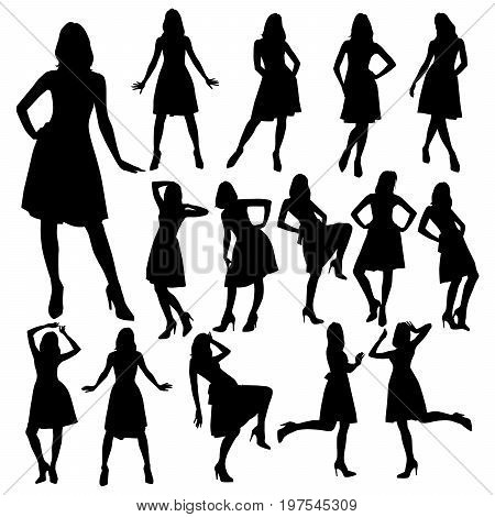 Many silhouettes of slim girls in a dress with a lush skirt. Silhouettes of beautiful girls in dress posing in various poses isolated on white background.