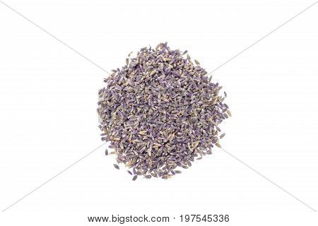 Heap of dry lavender tea isolated on a white background top view