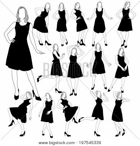 Set of many silhouettes of slim girls in a dress with a lush skirt. Silhouettes of beautiful girls in dress posing in various poses isolated on white background.