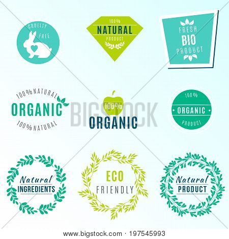 Vector Set of green labels and badges with leaves for organic, natural, bio and eco friendly products, isolated on white background. Cruelty free, not tested on animals