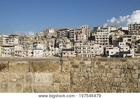 View to the slums with the walls of Citadel of Raymond de Saint-Gilles, Tripoli, Lebanon