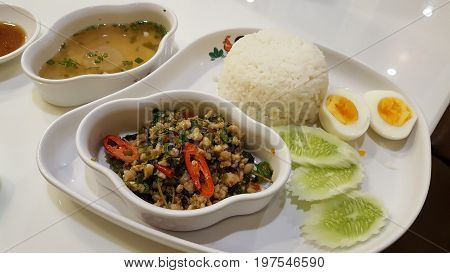 rice with pork minced basil spicy thai food and fried egg / rice with pork basil