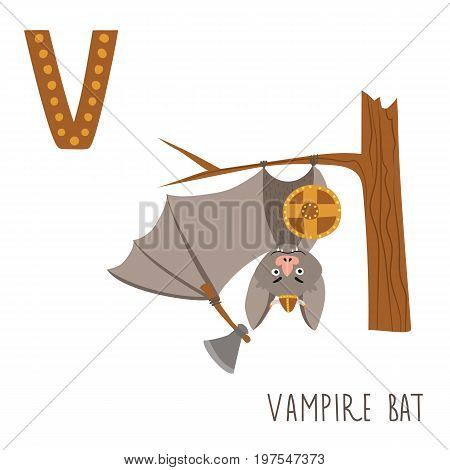 Vector kids illustration of cute animal alphabet. Letter V for the Vampire bat and Viking. Cartoon cute vampire bat in viking costume isolated on white background for child illustration, baby shower, birthday card, invitation, T-shirt.