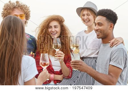 Diverse Group Of Friends Smiling As They Cheers Toast Drinking Wine And Fresh Cocktails Embracing Ea