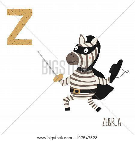 Vector kids illustration of cute animal alphabet. Letter Z for the Zebra. Cartoon cute zebra in carnival costume isolated on white background for child illustration, baby shower, birthday card, invitation, T-shirt.