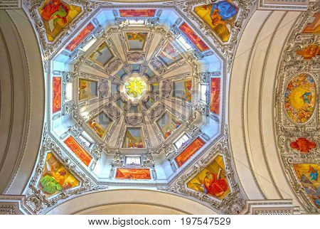 Salzburg, Austria - May 01, 2017: Interior of Salzburg Cathedral - details on ceiling on May 01, 2017 in Salzburg, Austria