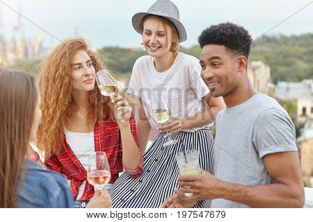 Friendly Colleagues Having Corporate Party, Drinking Alcoholic Drinks Discussing Something With Grea