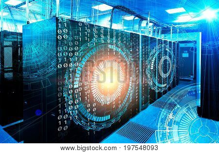 binary code covers a portion of the mainframe in data center