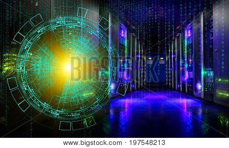 concept of information technology. technological background of the hologram futuristic server room modern datacenter