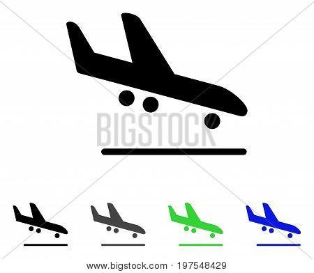 Airplane Arrival flat vector icon. Colored airplane arrival gray, black, blue, green icon variants. Flat icon style for web design.