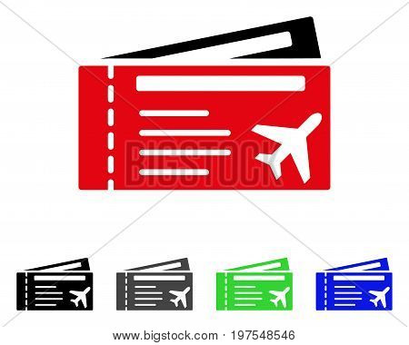 Air tickets flat vector pictograph. Colored air tickets gray, black, blue, green icon variants. Flat icon style for application design.