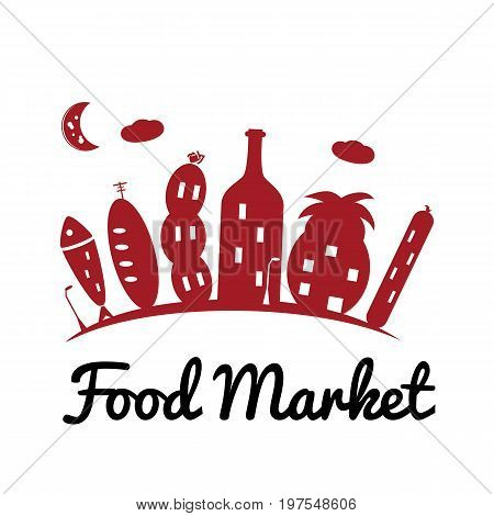 Vector logo template for food market or store. Illustration of the city houses in the form of bread sausage pineapple wine fish and cheese. Creative logotype for the grocery store. EPS10.