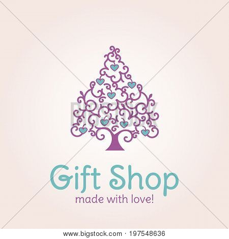 Creative logotype for gift shop or design banners. Can be used for Valentine's day card. Vector illustration of heart tree. EPS10. Purple and green color.