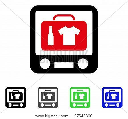 Baggage Xray Screening flat vector icon. Colored baggage xray screening gray, black, blue, green icon variants. Flat icon style for application design.