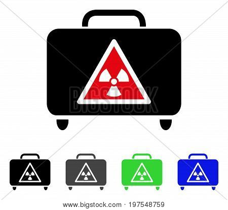 Dangerous Luggage flat vector illustration. Colored dangerous luggage gray, black, blue, green icon variants. Flat icon style for application design.