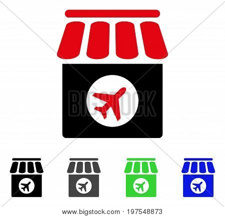Duty Free Shop flat vector pictograph. Colored duty free shop gray, black, blue, green pictogram variants. Flat icon style for web design.