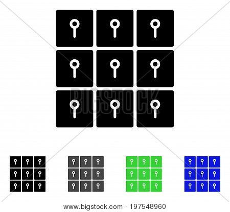 Lockers flat vector pictograph. Colored lockers gray, black, blue, green icon variants. Flat icon style for web design.