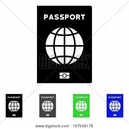 World Passport flat vector illustration. Colored world passport gray, black, blue, green pictogram versions. Flat icon style for web design.