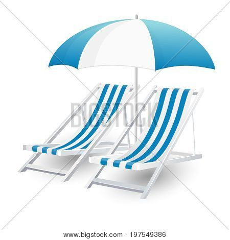 Chair and beach umbrella isolated on white background
