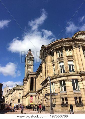 Birmingham Museum and Art Gallery (BMAG) Birmingham, United Kingdom - March 25, 2016: Building of Birmingham Museum and Art Gallery (BMAG) and tourists and locals walking by