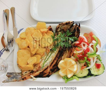 Grilled seabass, baked potato chips, fresh salad, selery and lemon dish on white plate isolated on table at restaurant. Cooked whole fish and vegetables, tasty healthy food product dinner option.