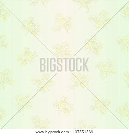 Seamless texture contour Leaf clovers symbol of good luck vector editable illustration hand draw