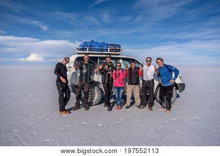 Uyuni, Bolivia- March 25, 2017:People taking picture on the lake Salar de Uyuni Bolivia