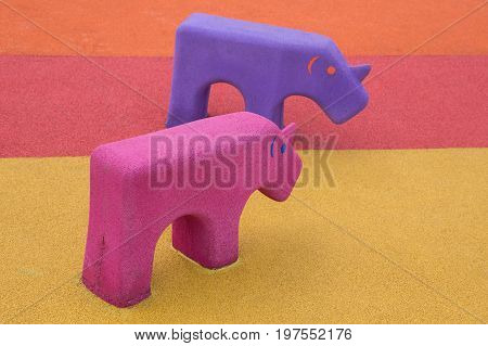 Rhinoceros Animal Toy In The Playground