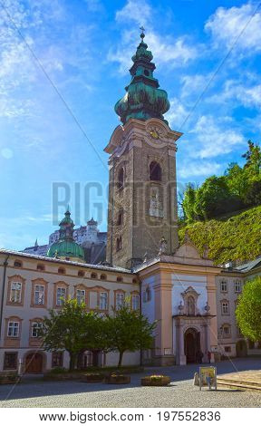 Salzburg, Austria - May 01, 2017: The church of Peter at Salzburg, Austria at sunny day on May 01, 2017
