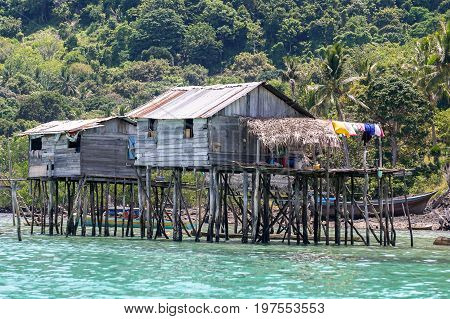 The traditional typical stilt houses sea gypsy in Bodgaya Island in Tun Sakaran Marine Park,Semporna,Sabah,Borneo,Malaysia.It is a popular traditional village for its unique stilt houses