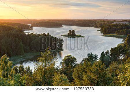 Beautiful Jedzelewo Lake in summer. Stare juchy Poland.