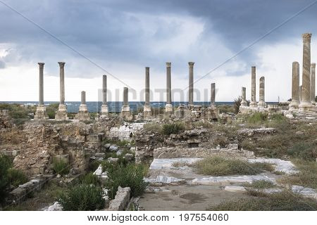Detail pillars in the roman ruins with dramatic cloudscape in Tyre, Sour, Lebanon