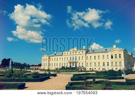 Rundale, Latvia - August 3, 2013: The Rundāle Palace built during the 16th century was located on the northern side of the pond. It can be seen in the design of F. B. Rastrelli as a small square field with towers in the corners.