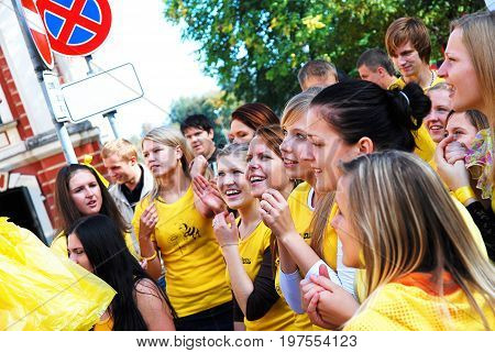 Jelgava, Latvia - September 30th, 2011: Jelgava Palace (Latvia University of Agriculture) First year students at matriculation event