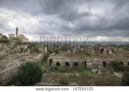 Ruins with view on the mosque with dark dramatic cloudscape in Tyre, Sour, Lebanon