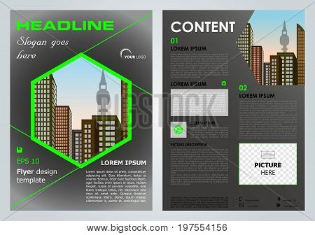 Vector Flyer, Corporate Business, Annual Report, Brochure Design And Cover Presentation With Green H