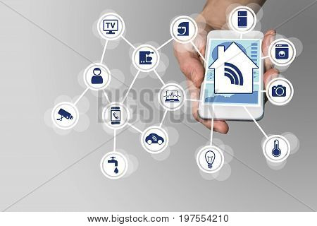 Hand holding modern smart phone on neutral background. Smart home automation concept with connected devices