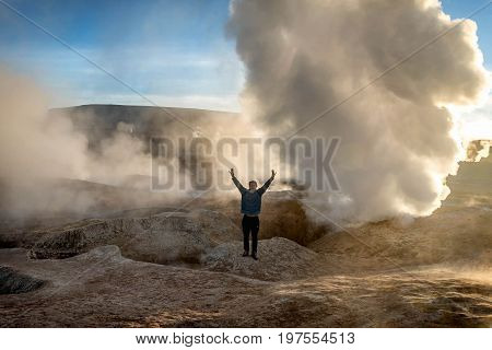 Uyuni, Bolivia- March 27, 2017:Geyser in natural reserveEduardo Avoroa Bolivia