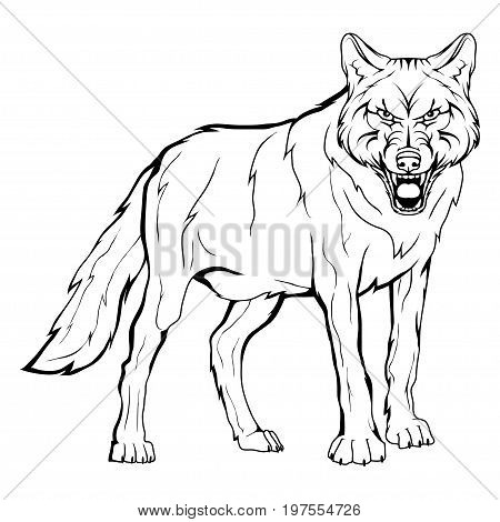Vector sketch of a wolf. Business sign logotype wolf face. Sketch of a tattoo wolf. Forest predatory beast dangerous wolf